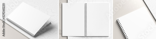 Obraz A4 format spiral binding notebook mock up on white marble background. Realistic notebook mock up rendered with three different angles. 3D illustration. - fototapety do salonu