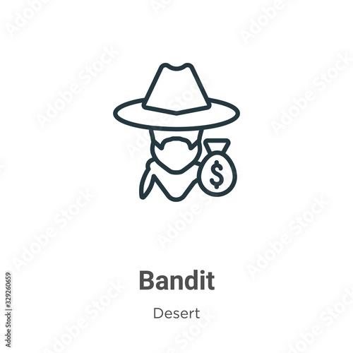 Bandit outline vector icon Wallpaper Mural