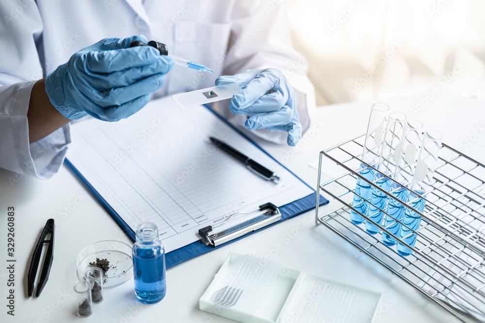 Fototapeta Scientist or medical in lab coat holding test tube with reagent, mixing reagents in glass flask, glassware containing chemical liquid, laboratory research and testing of Microscope