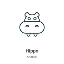 Hippo Outline Vector Icon. Thin Line Black Hippo Icon, Flat Vector Simple Element Illustration From Editable Animals Concept Isolated Stroke On White Background