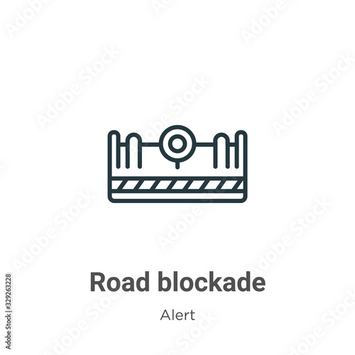 Road blockade outline vector icon Canvas Print