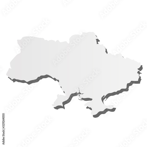 Ukraine - grey 3d-like silhouette map of country area with dropped shadow. Simple flat vector illustration