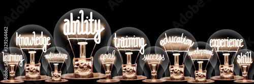 Light Bulbs with Ability Concept Wallpaper Mural