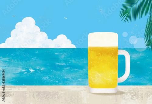 海とビールジョッキ水彩 Canvas Print