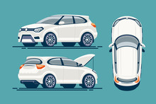 Car Flat Vector Template. SUV ...