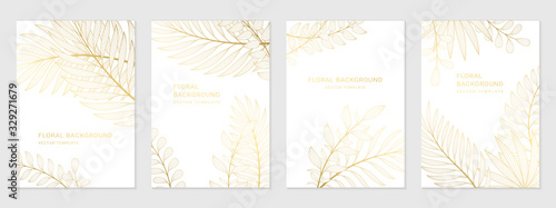 Fototapeta Vector set of luxury templates. Backgrounds with space for text and golden plants. Design for social media stories, banner, greeting card, invitation, poster and advertising. obraz