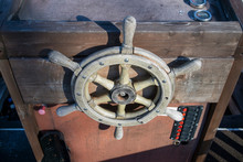 Old Wooden Helm Of A Boat