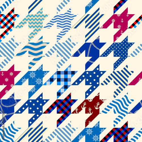 Photo Classic Hounds-tooth pattern in a patchwork collage style.
