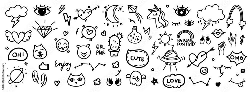 Fototapeta Cute hand drawn doodle vector set, love, tattoo , firework, cloud, Unicorn, weather, rainbow, cat,dog, heart and creative design vector collection.