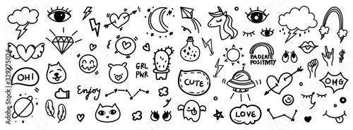 Cute hand drawn doodle vector set, love, tattoo , firework, cloud, Unicorn, weather, rainbow, cat,dog, heart and creative design vector collection.