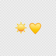 Sun And Heart Emojis. Love Heart Emoji. Yellow Icons. Vector