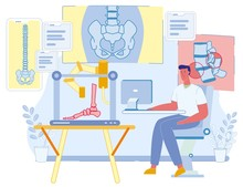 Cartoon Male Medical Scientist Character Printing Foot On 3D Printer In Research Laboratory. Innovative Smart Medicine Of Future. Bioprinting Additive Technology. Vector Flat Illustration
