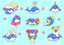 Cute Cartoon Whales Sticker Set Flat Cartoon Vector Illustration. Adorable Little Blue Animal Collection In Different Positions. Characters Sleeping, Water Fountain, With Rainbow Horn, Tourist.