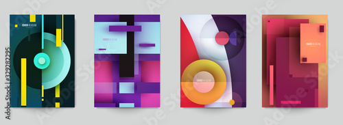 Obraz Set of minimal template in paper cut style design for branding, advertising with abstract shapes. Modern background for covers, invitations, posters, banners, flyers, placards. Vector illustration. - fototapety do salonu