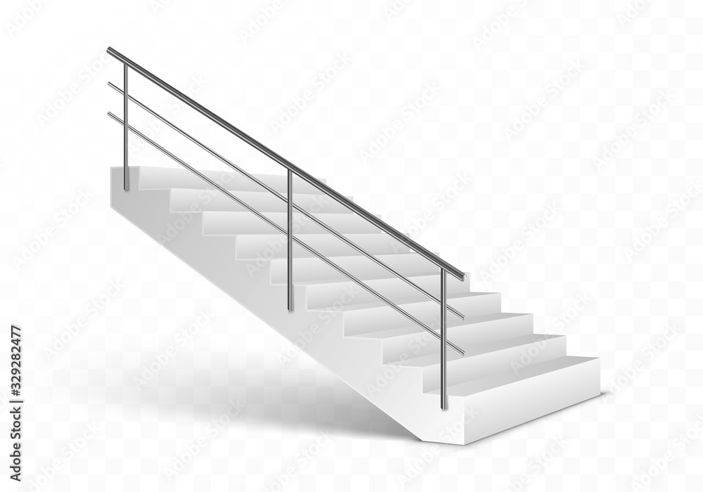 Stairs and stainless steel railing. Realistic vector illustration isolated on transparent background. <span>plik: #329282477 | autor: sveta</span>