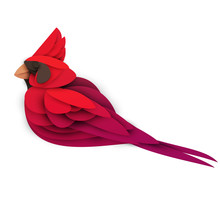 Abstract Northern Cardinal Bird Isolated On White Background. Creative 3d Concept In Craft Paper Cut Style. Colorful Minimal Design Character. Original Vector Cartoon Illustration.