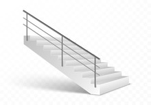 Stairs And Stainless Steel Railing. Realistic Vector Illustration Isolated On Transparent Background.
