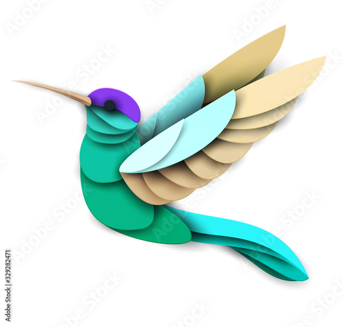 Abstract flying hummingbird isolated on white background Fototapete