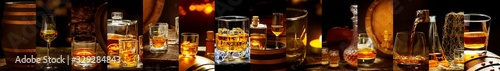 Photo Banner with many different whiskey images, Whiskey in a glass, in bottles, in a
