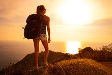 Young Woman Hiker With Backpac...