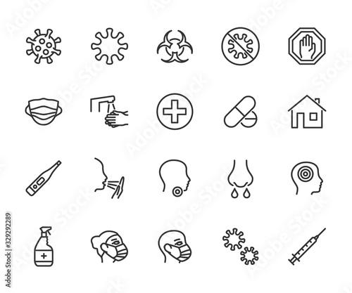 Valokuvatapetti Vector set of virus line icons