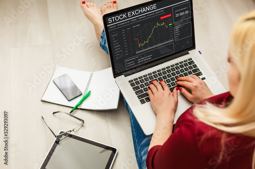 Conceptual hand writing on a laptop with graphs of the financial crisis Canvas Print