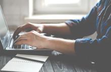 Freelancer Works On A Laptop I...