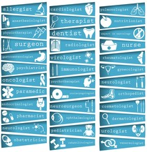 Medical Design For The Design Of Hospitals And Sites. List Of Treating Doctors, Medical Specialties. Medical Icons. Stock Vector.