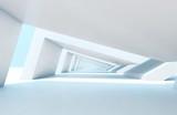 Fototapeta Perspektywa 3d - Endless tunnel perspective. 3d rendering illustration