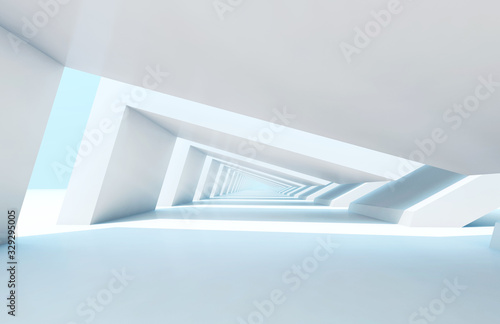 Endless tunnel perspective. 3d rendering illustration
