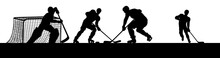 Ice Hockey Players In Silhouet...
