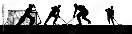 Ice hockey players in silhouette playing a match game scene Wallpaper Mural