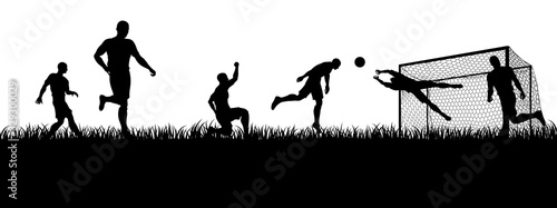 Fotografie, Tablou Soccer football players in silhouette playing a match game scene