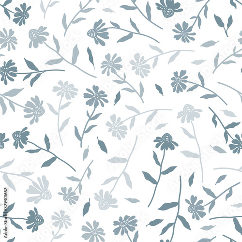 Tapeta niebieska  cute-hand-drawn-floral-seamless-pattern-coneflower-doodles-background-great-for-textiles-banners-wallpapers-wrapping-vector-design