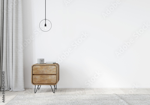 Photo Wooden nightstand in the loft style with curtains on a white wall background