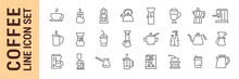 Coffee Vector Isolated Line Icon Set. Coffe Makers