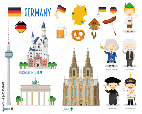 Germany Flat Icon Set Travel and tourism concept Fototapete