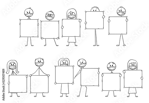 Fototapeta Vector cartoon stick figure drawing conceptual illustration of set or group of people wearing face masks and holding big empty sign. Pollution, coronavirus,Infection and epidemic concept. obraz