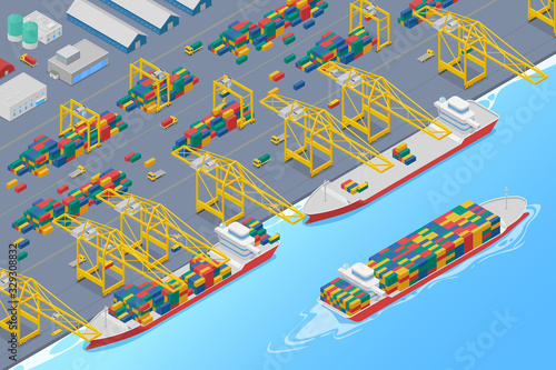 Port cranes in dock loading containers into cargo ship and unloading barge, ship Fototapete