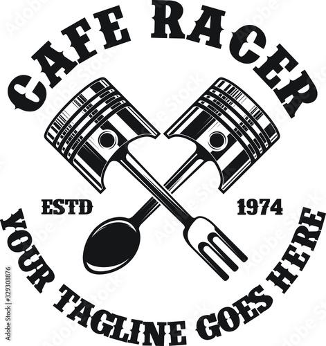 Cafe Racer Motorcycle Logo Canvas Print