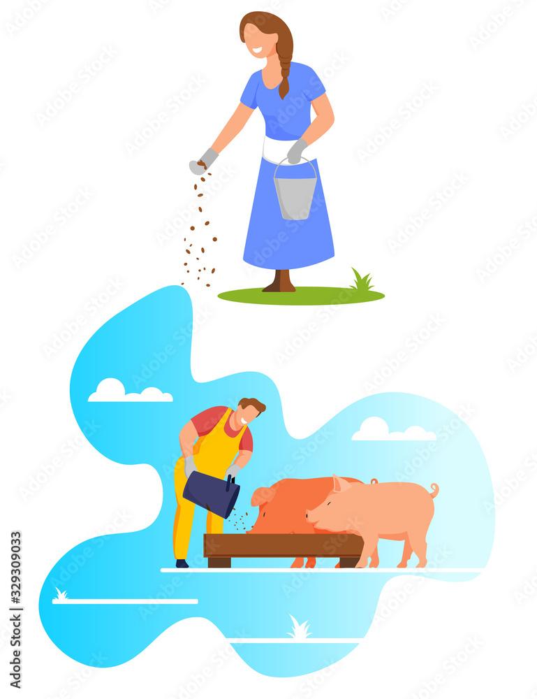 Fototapeta Woman Pouring Grain from Bucket on Ground, Feed Chicken, Farmer Feeding Pigs Put Food in Trough, Livestock, Domestic Animal Husbandry, Natural Eco Farm Production, Cartoon Flat Vector Illustration - obraz na płótnie