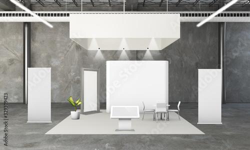 Fototapeta rounded exhibition booth 3d rendering obraz