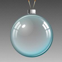 Blue Transparent Christmas Ball.