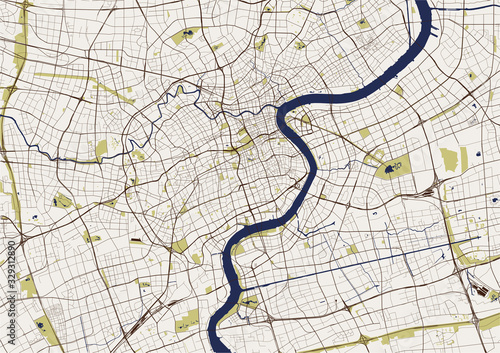 Fotografie, Obraz map of the city of Shanghai, China