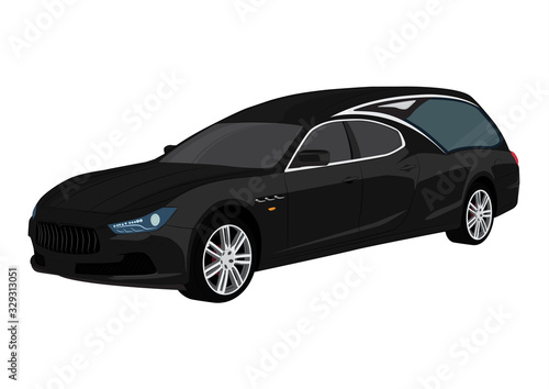 hearse black car modern style Canvas Print