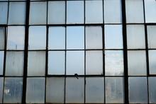 Full Frame Of Antique Steel Frame Factory Windows