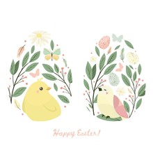 Happy Easter Design Element. Egg With Chick And Flower, Leaves, Butterfly. Vector Set
