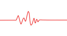 Red Heartbeat Line Icon. Pulse...