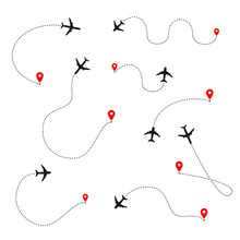 Airplane Line Path Of Air Plan...