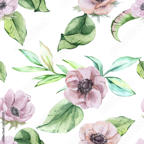 Photo watercolor patterns of anemone flowers seamless on a white background